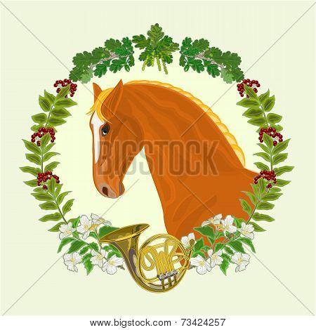 Sorrel Horse  Hunting Theme Vector