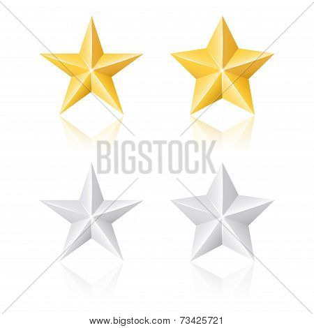 Gold And Silver Stars. Vector Set