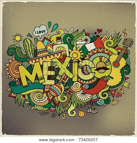 Mexico hand lettering and doodles elements background. Vector il