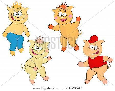 Four Funny Cartoon Piglets