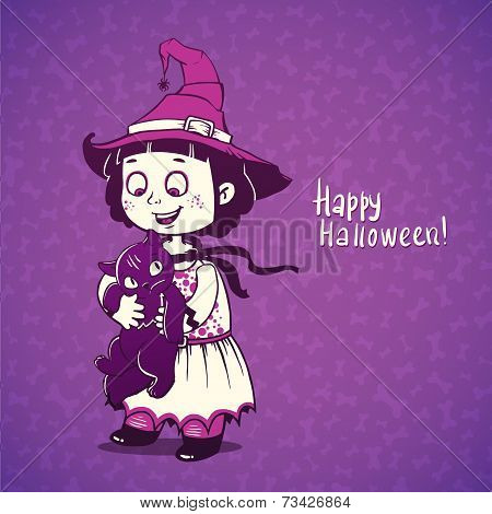 Little girl little witch detains disgruntled cat.  Happy Halloween card