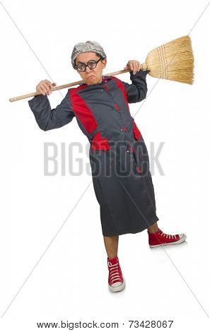 Funny janitor isolated on white