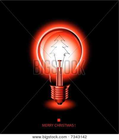christmas tree light bulb- red