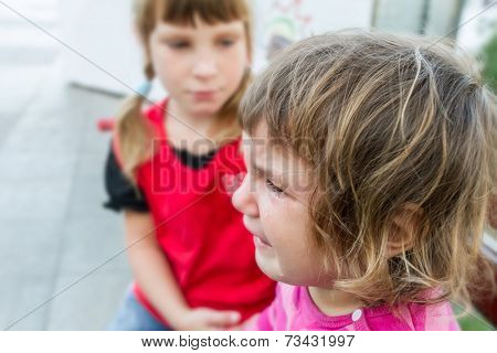 cute crying child girl