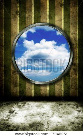 Window on grunge wall
