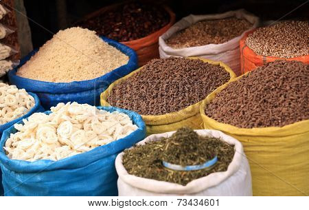 closeup of dried herb and food on sale