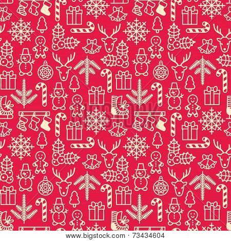 Christmas Background, Seamless Tiling. Vector Illustration.