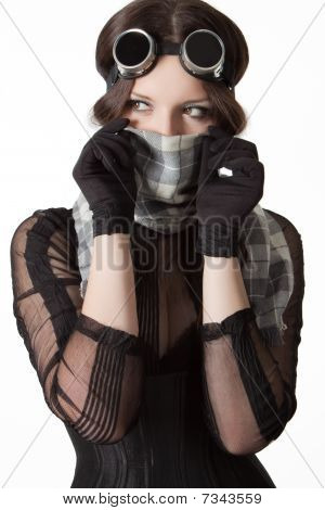 Girl With Scarf And Goggles