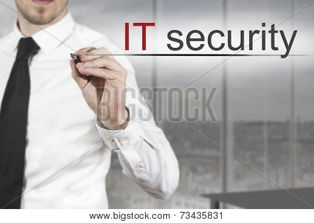 Businessman Writing It Security In Office