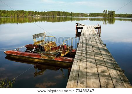 Old Pedal Boat On The Lake