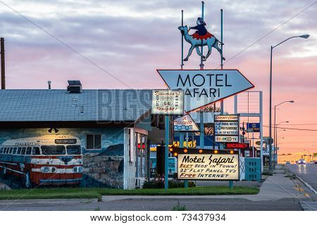 Motel Safari Night Tucumcari New Mexico