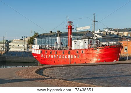Historic Red Relandersgrund Lightship In Helsinki, Finland