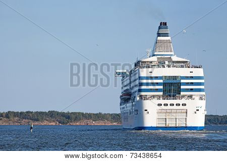 Silja Line Ferry Sails From Port Of Helsinki