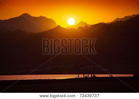 Sunset over mountains in south Sinai, Dahab, Egypt
