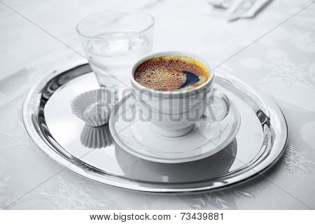 Turkish coffee in a cup