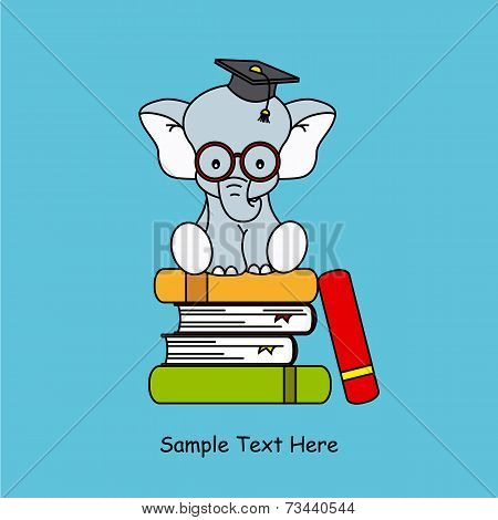 elephant sitting on top of books
