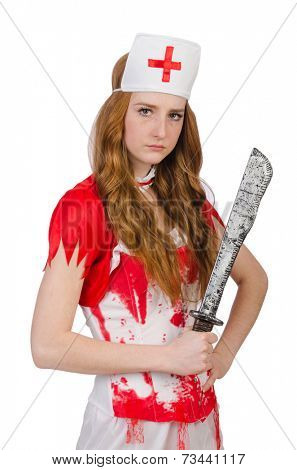 Woman doctore with big dagger on white