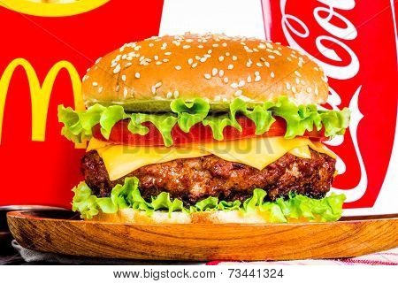 MOSCOW, RUSSIA-October 6, 2014: McDonald's food. McDonald's Corporation is the world's largest chain of hamburger fast food restaurants, serving around 68 million customers daily in 119 countries