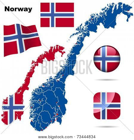Norway set. Detailed country shape with region borders, flags and icons isolated on white background.