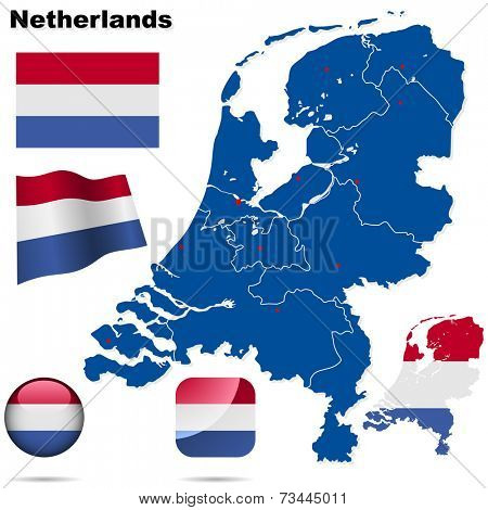 Netherlands set. Detailed country shape with region borders, flags and icons isolated on white background.