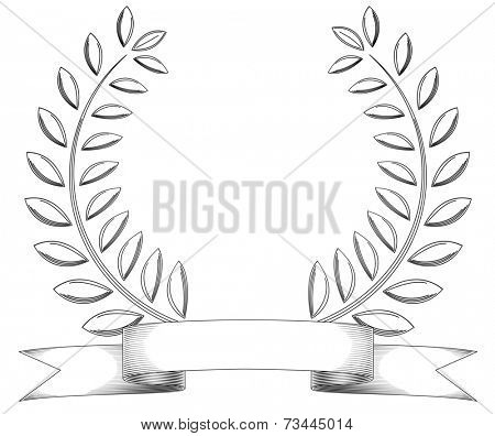 Black and white sketchy vintage wreath and banner isolated on white.