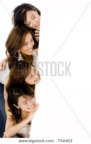 Four Girls And Sign