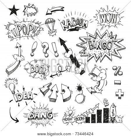 Set comic book explosion hand drawn