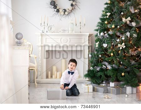 Portrait of cute boy near the christmas tree