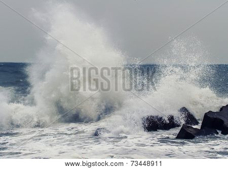 Big waves at Black Sea. View of storm seascape