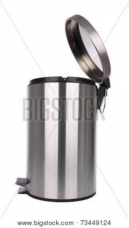 Side of opened trash can scratch surface isolated on white background.