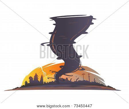 Tornado Landscape Silhouette