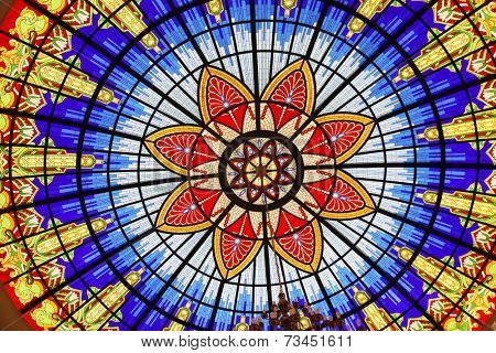 SKOPJE, MACEDONIA - MAY 17: Stained glass window in the Museum of the Macedonian Struggle for sovereignity and independence in Skopje, Macedonia on May 17, 2013