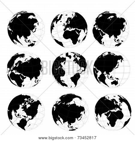 Vector set of 3D world map or globe, series