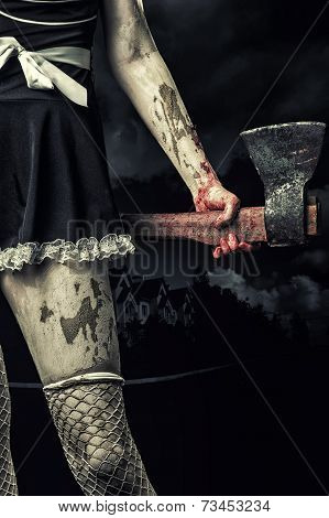 Evil Woman Holding A Bloody Ax