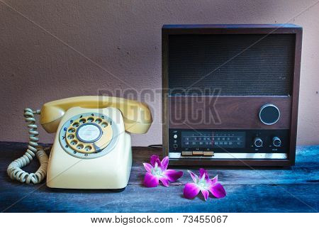 Old Radio And Retro Telephone.