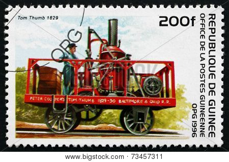Postage Stamp Guinea 1996 Tom Thumb, 1829, Locomotive
