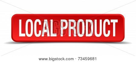 Local Product Red 3D Square Button Isolated On White