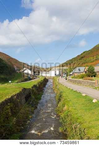 Boscastle river North Cornwall England UK between Bude and Tintagel on sunny autumn day