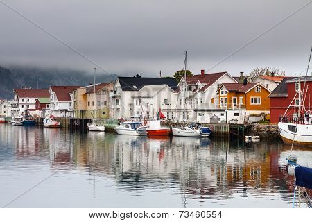 Fishing village Henningsvaer in lofoten, norway
