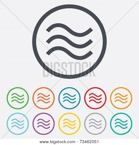 Water waves sign icon. Flood symbol.