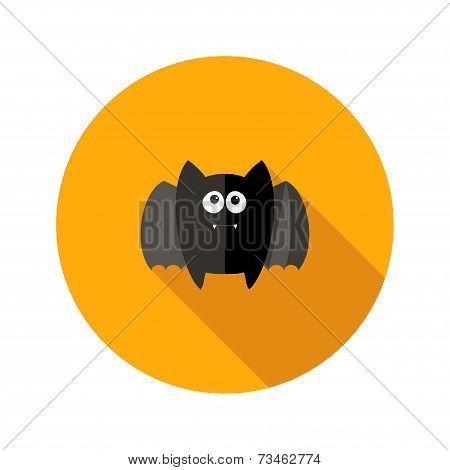 Halloween Bat Flat Icon With Fangs