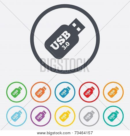 Usb 3.0 Stick sign icon. Usb flash drive button