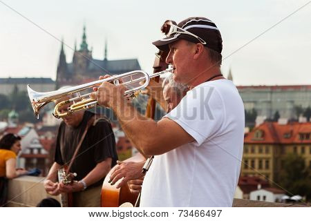 Jazz band play in front of Prague Castle, Czech Republic