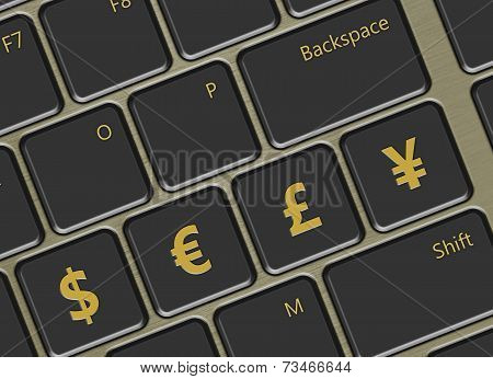 Computer Keyboard With With Euro And Yen Buttons