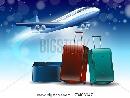 Blue Background Around The Fly Tourism Travel