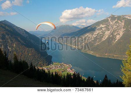Paraglider Over Lake Achensee, Austria