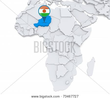 Niger On A Map Of Africa