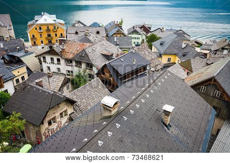 View Of Hallstatt Village Tradidional Rooftops