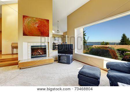 Luxury House Interior With Scenic Window View