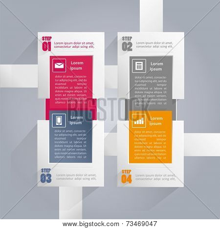 Infographics background with rectangular elements and icons in every option - four steps